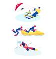 set snowkiting bobsleigh and ski slalom kinds vector image vector image