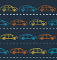striped seamless pattern with cars vector image vector image