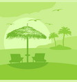 summer background card with lounge and umbrella vector image