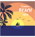 summer beach enjoy sea saiboat coconut background vector image vector image