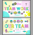 teamwork colorful promo banners linear templates vector image
