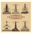 vintage lighthouses logos set vector image vector image