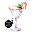 watercolor hand drawn sketch christmas cocktail vector image vector image