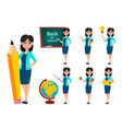 back to school teacher woman cartoon character vector image vector image