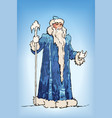 blue russian grandfather frost sketch ded moroz vector image
