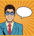 businessman with bubble pop art cartoon vector image vector image