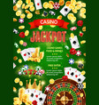 casino poker jackpot gambling game gold coins win vector image vector image