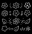 Chalk white abstract hand drawn flowers set
