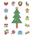christmas icons set pine tree decorated vector image