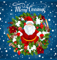 christmas tree and santa gifts greeting card vector image vector image