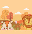 cute animal foliage hello autumn vector image vector image