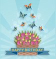 cute happy birthday background with tulips and vector image