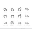 delivery truck icons set fast truck minibus van vector image
