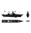 detailed silhouette military ship vector image vector image