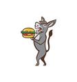 Donkey Mascot Serving Hamburger Isolated Retro vector image vector image