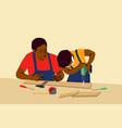 fatherhood childhood work education help vector image