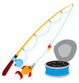 fishing logo fishing rod and a can of worms vector image vector image