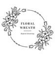 floral wreath flower circle monogram vector image vector image