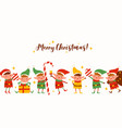 group cute elves on merry christmas horizontal vector image vector image