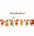 group cute elves on merry christmas horizontal vector image