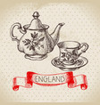 hand drawn sketch england vintage dishes vector image