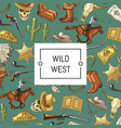 hand drawn wild west cowboy background vector image vector image