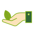 hands with leafs plant ecology icon vector image vector image
