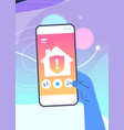 human hand using mobile app for smart house system vector image vector image