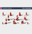 isometric fire extinguisher - set of safety vector image