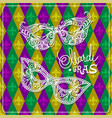 mardi gras carnival mask on rhombus background vector image vector image