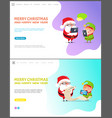 merry christmas and happy new year web page set vector image vector image