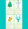 merry christmas tree snowman owl deer posters set vector image