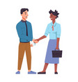 multinational man and woman shaking hands isolated vector image vector image