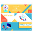 people playing 360 virtual games banners set vector image vector image