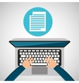 person working laptop document social media vector image