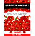 poppy poster of remembrance day 11 november vector image vector image