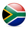 Round glossy icon of south africa vector image