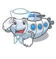sailor miniature submarine in the character shape vector image