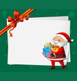 santa on christmas card template vector image vector image