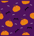 scary seamless pattern with pumpkins and bats vector image