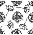 seamless pattern with black and white poppy flower vector image vector image