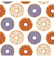 seamless pattern with colorful donuts vector image