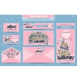 set banners business cards postcards vector image vector image