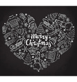 set hand drawn winter holiday elements in heart vector image