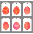 Set of tags for Easter Watercolor silhouettes eggs
