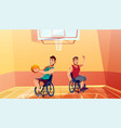 sportsman on wheelchair playing basketball vector image vector image