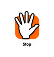 stop logo palm man turned towards viewer vector image vector image