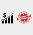 success financial chart icon and scratched vector image vector image