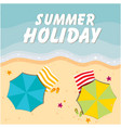 summer holiday beach umbrella and chair background vector image vector image