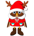 The image owl with Santa reindeer vector image